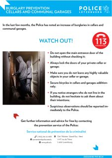 BURGLARY PREVENTION - CELLARS AND COMMUNAL GARAGES